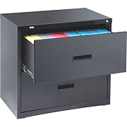 "Staples HL1000 Lateral File/Storage Cabinet, 30"" Wide, 2-Drawer, Black"