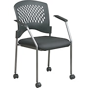 Office Star™ Stackable Titanium Finish Rolling Visitor's Chairs