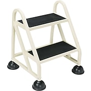 Two-Step Stop-Step Aluminum Ladder, 21 x 19 3/4 x 22 3/4, Beige
