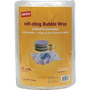 "Staples® Self-Cling Bubble Wrap®, 12"" x 40'"