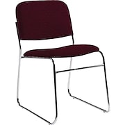 Global Chrome Stack Chair, Burgundy