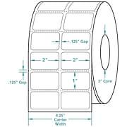 2 x 1 (2 Across) Perfed White Permanent Thermal Transfer Roll Zebra Compatible Label/Ribbon Kit
