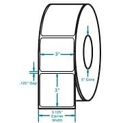 3 x 3 White Permanent Adhesive Thermal Transfer Roll Zebra Compatible Label/Ribbon Kit