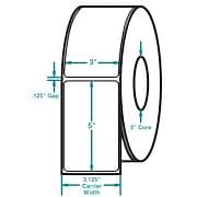 3 x 5 White Permanent Adhesive Thermal Transfer Roll Zebra Compatible Label/Ribbon Kit