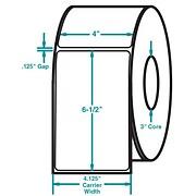 4 x 6-1/2 White Permanent Adhesive Thermal Transfer Roll Zebra Compatible Label/Ribbon Kit