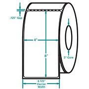 4 x 8 Perfed White Permanent Adhesive Thermal Transfer Roll Zebra Compatible Label/Ribbon Kit