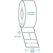 4 x 3 Perfed White Permanent Adhesive Thermal Transfer Roll Zebra Compatible Label/Ribbon Kit, In