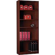"Staples® Hayden™ Cherry Finish Bookcase, 5-Shelf, 72"""