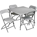 Office Star 5 Piece Folding Resin Card Table Set, Light Gray