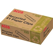Acco Recycled #1 Paper Clips, Smooth