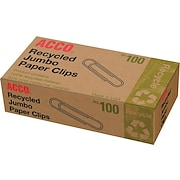 Acco Recycled Jumbo Paper Clips, Smooth