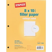 """Staples® College Ruled Filler Paper, 8"""" x 10 1/2"""""""