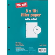 """Staples® Wide Ruled Filler Paper, 8"""" x 10 1/2"""""""