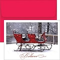 Believe Sleigh Holiday Card with Red Envelopes