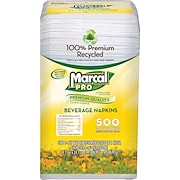 Marcal Pro™ <span style=color:green>100% Recycled</span> Paper Beverage Napkins, 1-Ply, 500/Pack
