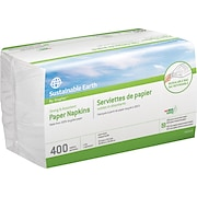 Sustainable Earth by Staples® <span style=color:green>100% Recycled</span>  Paper Napkins, 1-Ply