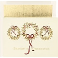 Wreathes with Ribbons Holiday Card with White Gold Foil Envelopes