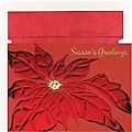 Red Foil Poinsettia Holiday Card with White Red Foil Envelopes