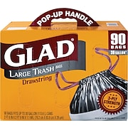 Glad® Drawstring Outdoor Trash Bags, Black, 30-Gallons