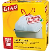 Glad® Tall Kitchen Bags, White, 13-Gallons