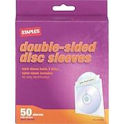 Staples® CD/DVD Sleeves, 50/Pack