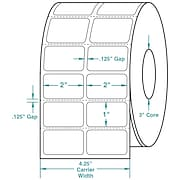 2 x 1 (2 Across) Perfed White Permanent Thermal Transfer Roll Zebra Compatible Label/Ribbon Kit