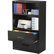 """Hirsh 36"""" Wide 2-Drawer, 2-Shelf  Lateral File/Bookcase"""
