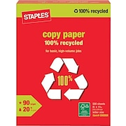"""Staples® 100% Recycled Copy Paper, 8 1/2"""" x 11"""", Ream"""