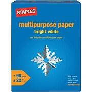 """Staples® Bright White Multipurpose Paper, 8 1/2"""" x 11"""", Ream"""